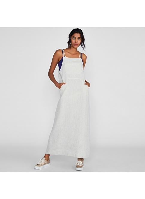 Vekem-Limited Edition İp Askılı Uzun Keten Elbise Bej